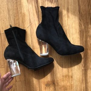 Jeffrey Campbell clear lucite plastic heel ankle